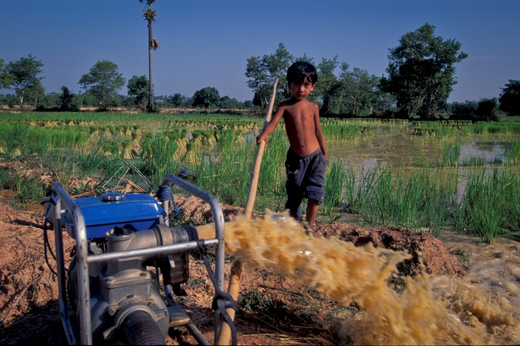 A child looks over a pump irrigating a rice field in Cambodia. Photo by Asian Development Bank, Flickr, taken 15 February 2011. Licensed under CC BY-NC-ND 2.0.