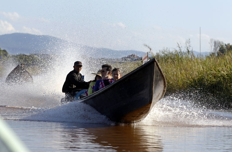 Tourists being transported across Inle Lake, Nyaungshwe Township, Taunggyi, Shan State. Photo: Nyein Chan Naing/EPA