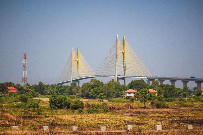 Neak Loeung bridge, Cambodia.
