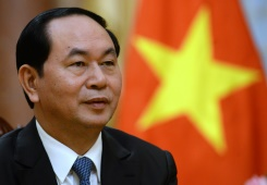 Vietnamese president Tran Dai Quang speaks during an interview with AFP at the presidential palace in Hanoi on August 25, 2016