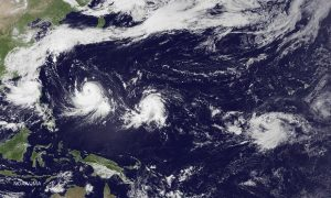 On 6 Sept 2016, satellite images showed the Pacific Ocean with two typhoons, one tropical storm, one formation alert and one large area of increased convection. Photograph: JMA MTSAT-2/NOAA