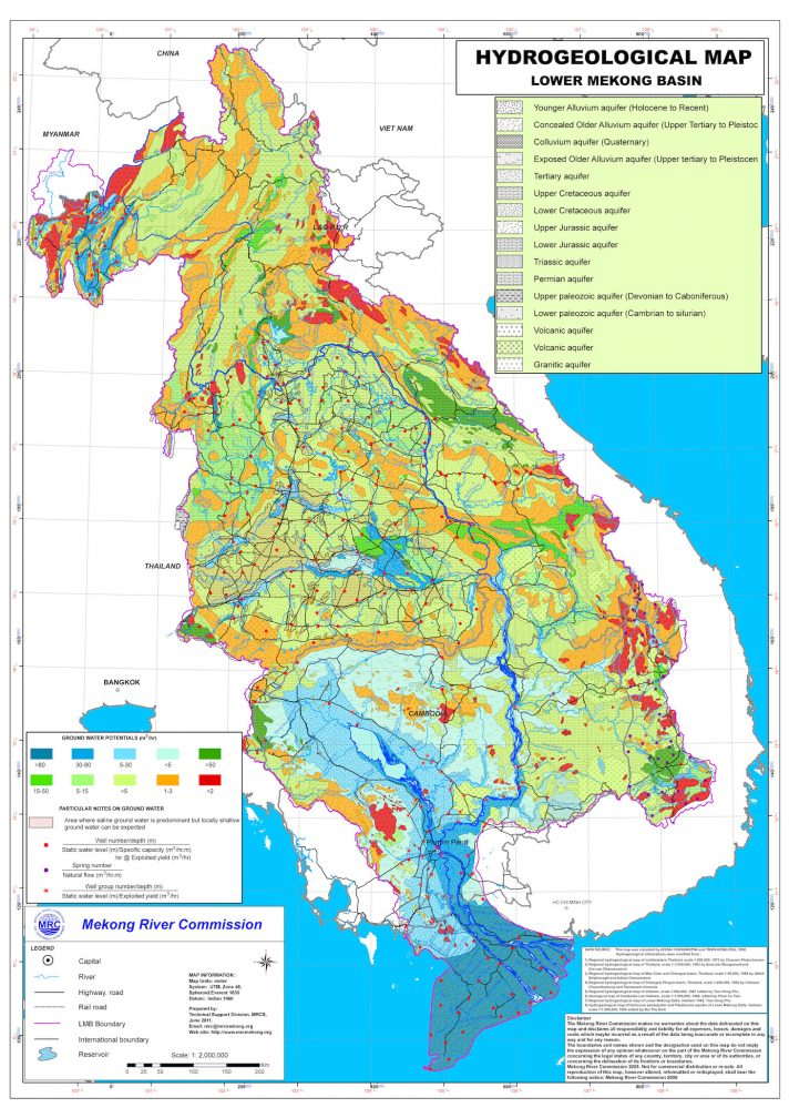 Lower Mekong Basin hydrogeology map. Source: Mekong River Commission.