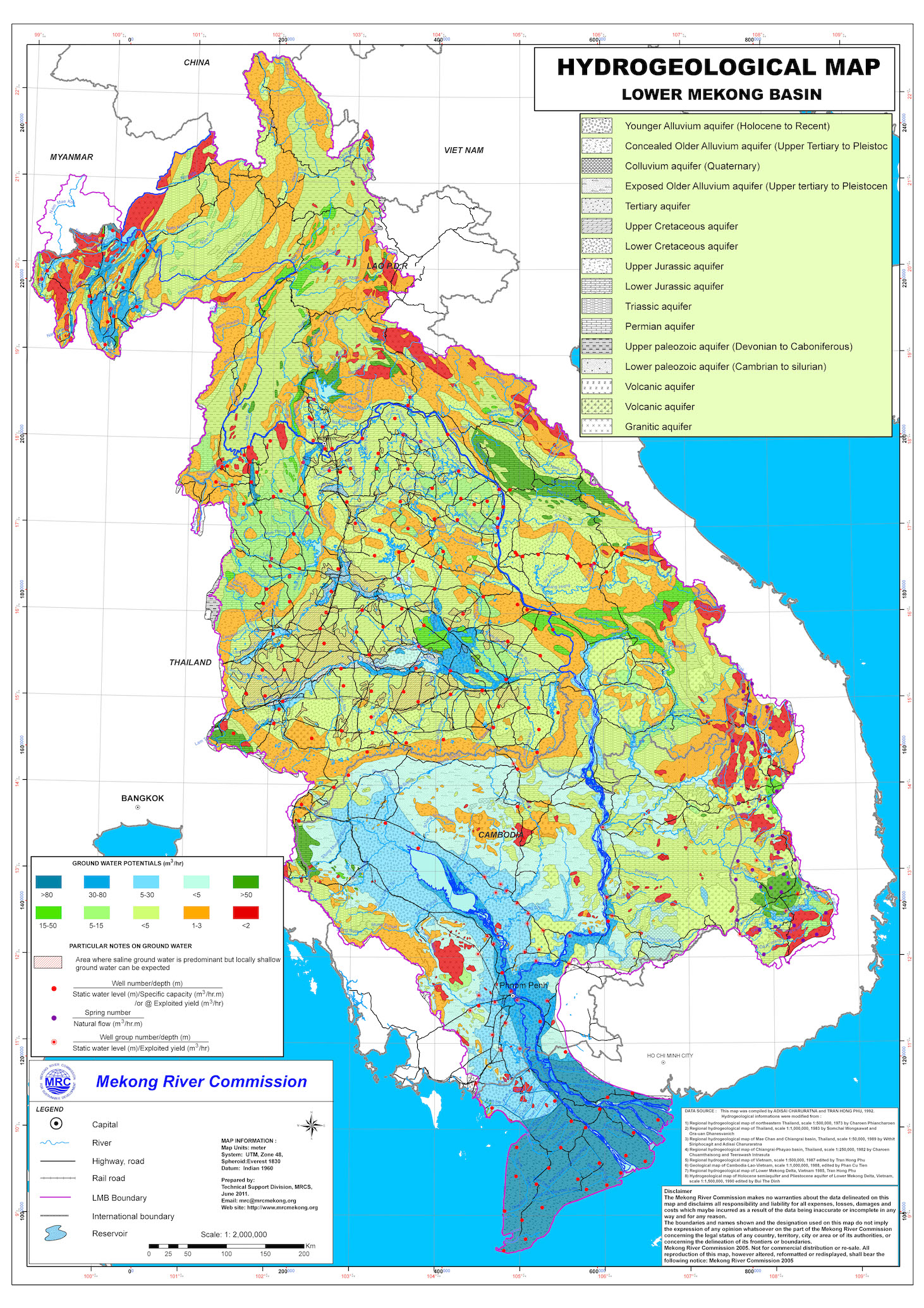 lower mekong basin hydrogeology map source mekong river commission