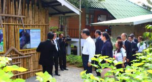 The group of ministers from four countries visit Huai Hong Khrai Royal Development Study Centre in Chiang Mai's Doi Saket district yesterday to learn the projects initiated by HM the King.