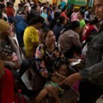 Families at Angkor hospital for children in Siem Reap in north-west Cambodia